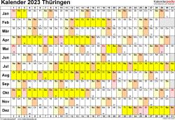 Vorlage 3: Kalender Thüringen 2023 im Querformat, Tage nebeneinander