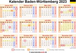 Kalender 2023 Baden-Württemberg