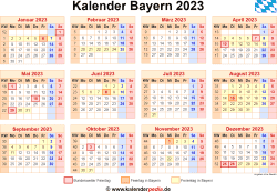 Kalender 2023 Bayern