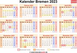 Kalender 2023 Bremen