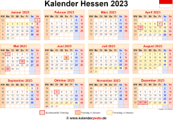 Kalender 2023 Hessen