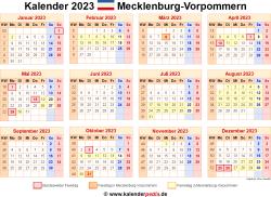 Kalender 2023 Mecklenburg-Vorpommern