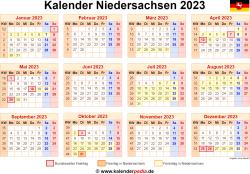 Kalender 2023 Niedersachsen