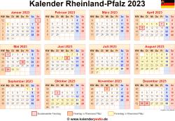 Kalender 2023 Rheinland-Pfalz