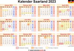 Kalender 2023 Saarland