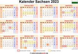 Kalender 2023 Sachsen