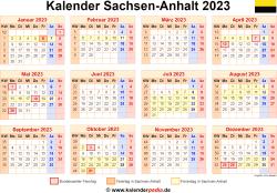 Kalender 2023 Sachsen-Anhalt
