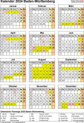 Vorlage 8: Kalender Baden-Württemberg 2024 als Word-Vorlage (Hochformat)