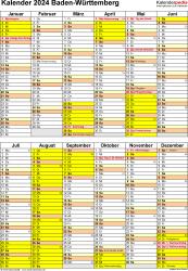 Vorlage 5: Kalender Baden-Württemberg 2024 als Word-Vorlage (Hochformat)