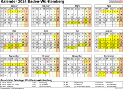 Vorlage 4: Kalender 2024 für Baden-Württemberg als Word-Vorlage (Querformat, 1 Seite, Jahresübersicht)