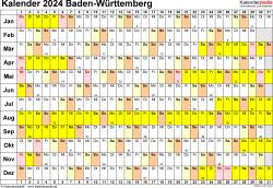Vorlage 3: Kalender Baden-Württemberg 2024 im Querformat, Tage nebeneinander