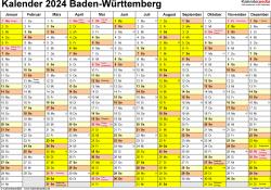 Vorlage 1: Kalender 2024 für Baden-Württemberg als Word-Vorlage (Querformat, 1 Seite)