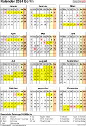 Vorlage 8: Kalender Berlin 2024 als Excel-Vorlage (Hochformat)