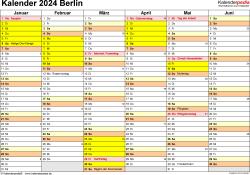 Vorlage 2: Kalender 2024 für Berlin als Excel-Vorlage (Querformat, 2 Seiten)