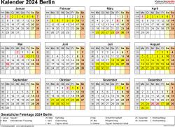 Vorlage 4: Kalender 2024 für Berlin als Excel-Vorlage (Querformat, 1 Seite, Jahresübersicht)