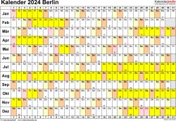 Vorlage 3: Kalender Berlin 2024 im Querformat, Tage nebeneinander