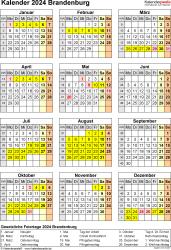 Vorlage 8: Kalender Brandenburg 2024 als Excel-Vorlage (Hochformat)
