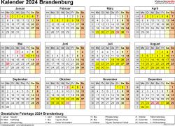 Vorlage 4: Kalender 2024 für Brandenburg als Excel-Vorlage (Querformat, 1 Seite, Jahresübersicht)