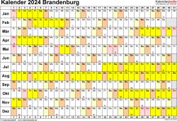 Vorlage 3: Kalender Brandenburg 2024 im Querformat, Tage nebeneinander