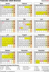 Vorlage 8: Kalender Bremen 2024 als Excel-Vorlage (Hochformat)