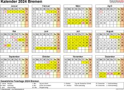 Vorlage 4: Kalender 2024 für Bremen als Excel-Vorlage (Querformat, 1 Seite, Jahresübersicht)