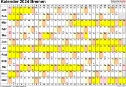 Vorlage 3: Kalender Bremen 2024 im Querformat, Tage nebeneinander