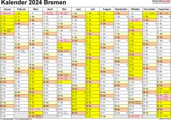Vorlage 1: Kalender 2024 für Bremen als Excel-Vorlage (Querformat, 1 Seite)