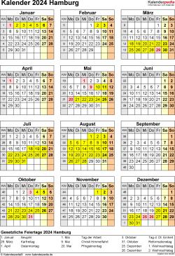 Vorlage 8: Kalender Hamburg 2024 als Word-Vorlage (Hochformat)