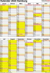 Vorlage 5: Kalender Hamburg 2024 als Word-Vorlage (Hochformat)