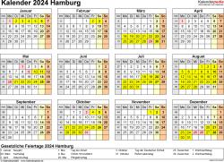 Vorlage 4: Kalender 2024 für Hamburg als Word-Vorlage (Querformat, 1 Seite, Jahresübersicht)