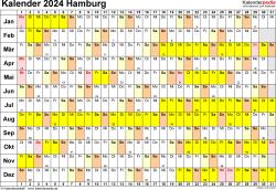 Vorlage 3: Kalender Hamburg 2024 im Querformat, Tage nebeneinander