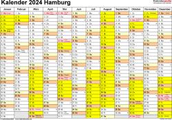 Vorlage 1: Kalender 2024 für Hamburg als Word-Vorlage (Querformat, 1 Seite)