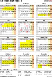 Vorlage 8: Kalender Hessen 2024 als Word-Vorlage (Hochformat)