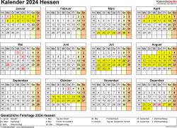 Vorlage 4: Kalender 2024 für Hessen als Word-Vorlage (Querformat, 1 Seite, Jahresübersicht)