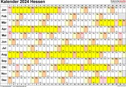 Vorlage 3: Kalender Hessen 2024 im Querformat, Tage nebeneinander