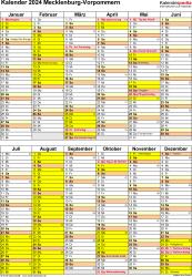 Vorlage 5: Kalender Mecklenburg-Vorpommern 2024 als Excel-Vorlage (Hochformat)