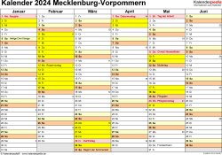 Vorlage 2: Kalender 2024 für Mecklenburg-Vorpommern als Excel-Vorlage (Querformat, 2 Seiten)