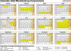 Vorlage 4: Kalender 2024 für Mecklenburg-Vorpommern als Excel-Vorlage (Querformat, 1 Seite, Jahresübersicht)