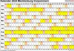 Vorlage 3: Kalender Mecklenburg-Vorpommern 2024 im Querformat, Tage nebeneinander