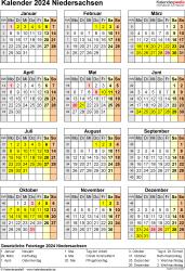 Vorlage 8: Kalender Niedersachsen 2024 als Excel-Vorlage (Hochformat)