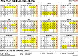 Vorlage 4: Kalender 2024 für Niedersachsen als Excel-Vorlage (Querformat, 1 Seite, Jahresübersicht)