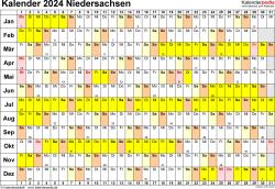 Vorlage 3: Kalender Niedersachsen 2024 im Querformat, Tage nebeneinander