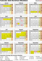 Vorlage 8: Kalender Nordrhein-Westfalen (NRW) 2024 als Word-Vorlage (Hochformat)