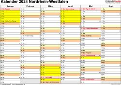 Vorlage 2: Kalender 2024 für Nordrhein-Westfalen (NRW) als Word-Vorlage (Querformat, 2 Seiten)