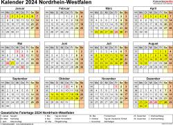 Vorlage 4: Kalender 2024 für Nordrhein-Westfalen (NRW) als Word-Vorlage (Querformat, 1 Seite, Jahresübersicht)