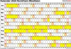 Vorlage 3: Kalender Nordrhein-Westfalen (NRW) 2024 im Querformat, Tage nebeneinander