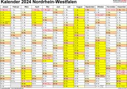 Vorlage 1: Kalender 2024 für Nordrhein-Westfalen (NRW) als Word-Vorlage (Querformat, 1 Seite)