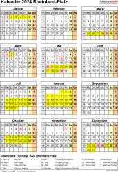 Vorlage 8: Kalender Rheinland-Pfalz 2024 als Excel-Vorlage (Hochformat)