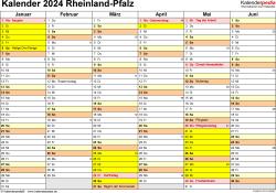 Vorlage 2: Kalender 2024 für Rheinland-Pfalz als Excel-Vorlage (Querformat, 2 Seiten)