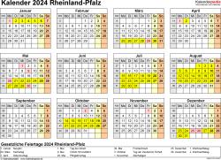 Vorlage 4: Kalender 2024 für Rheinland-Pfalz als Excel-Vorlage (Querformat, 1 Seite, Jahresübersicht)
